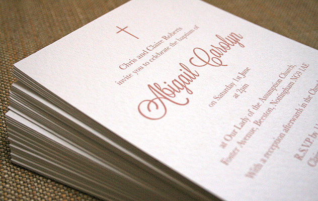 simple  and elgant baptism invitation