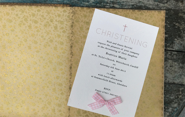 Christening invitations for Beatrice with ribbon bow and cross motif
