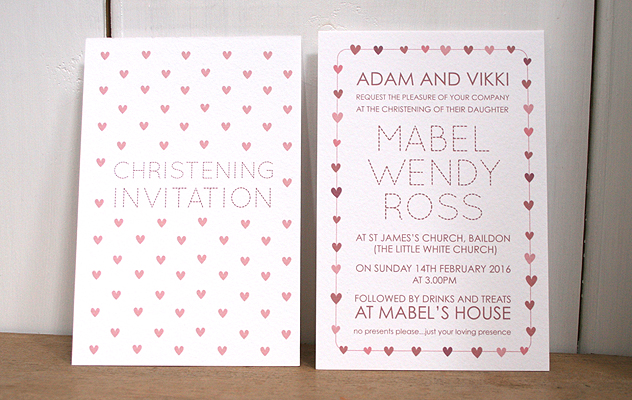 Mabel's Christening invitation design with pink hearts