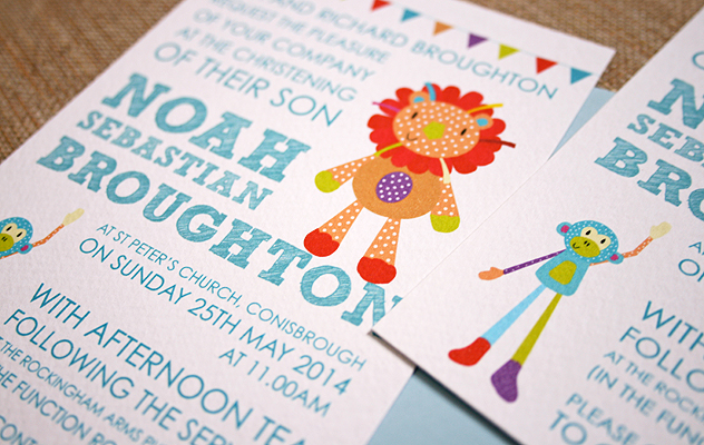 Noah's colourful Christening Invitations featuring two of Noah's favourite toys