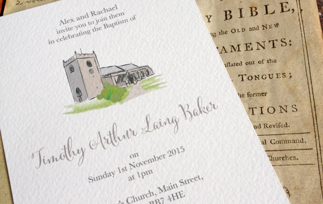 Timothy's Christening invitations with church illustration design