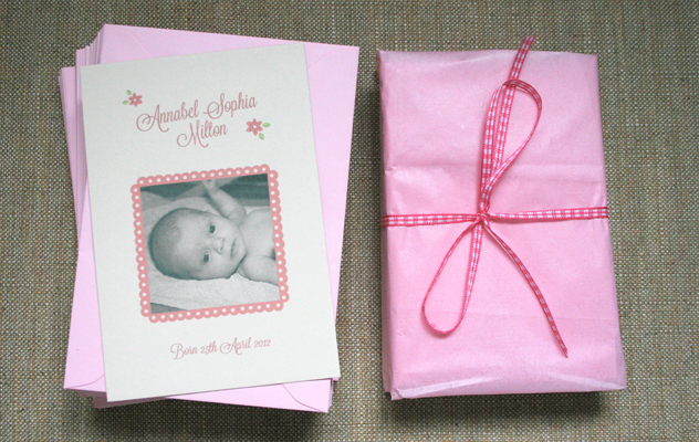 floral baby thank you card photo pink