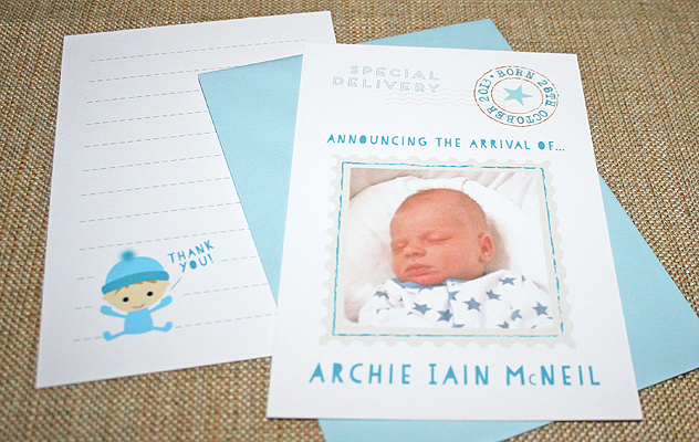 Archi'e baby thank you cards with postage style design for the new delivery!