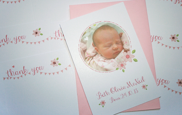 Bath's baby thank you cards with pink floral ditsy print