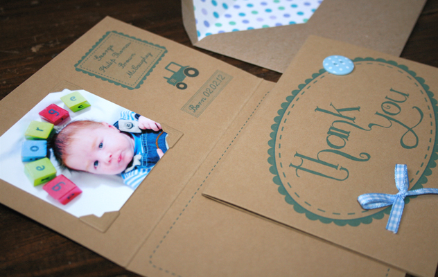 baby announcement thank you card tractor farmer