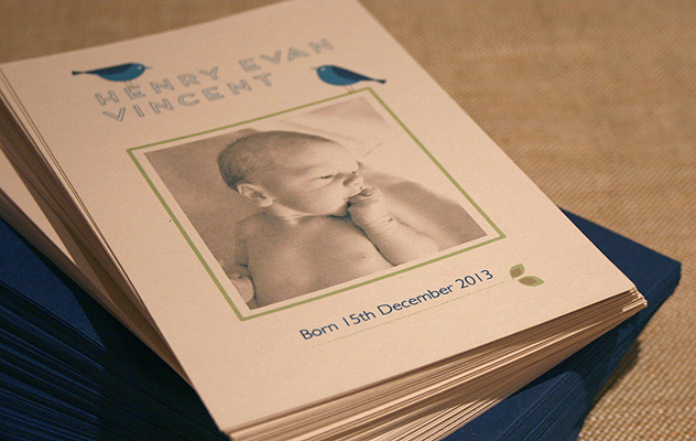Henry's baby thank you cards with dark blue bird