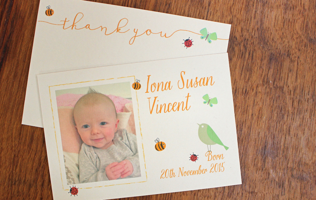 Iona's Thank you baby cards with bees, birds and butterflies