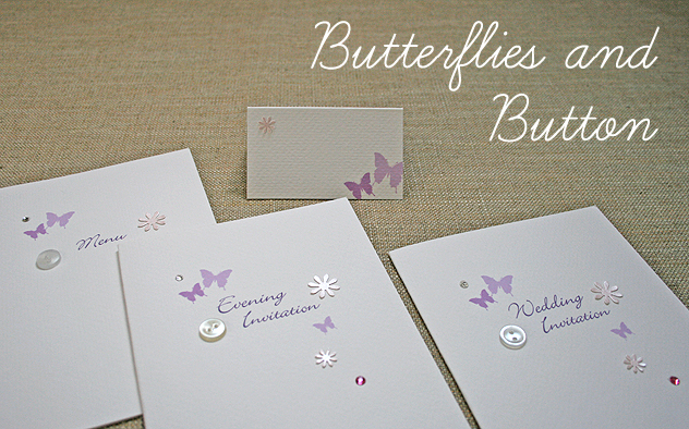 wedding stationery butterflies and button range