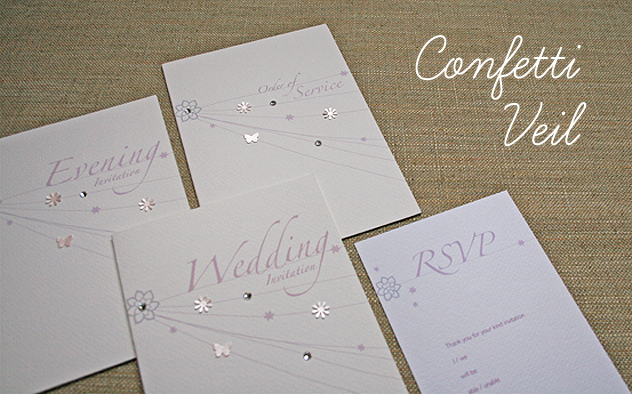 wedding stationery confetti veil range delicate pastel design