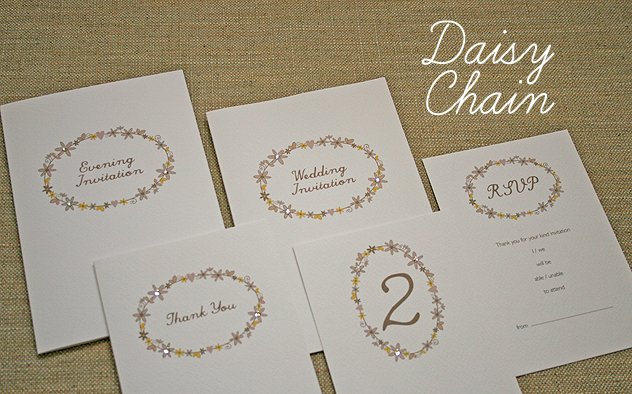 daisy chain pretty floral wedding stationery design spring wedding