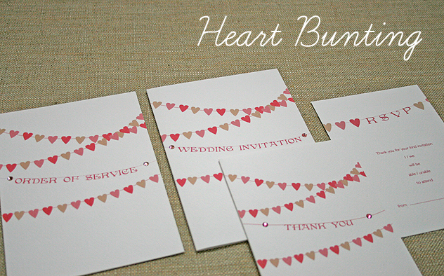 heart shaped bunting wedding stationery design spring summer wedding