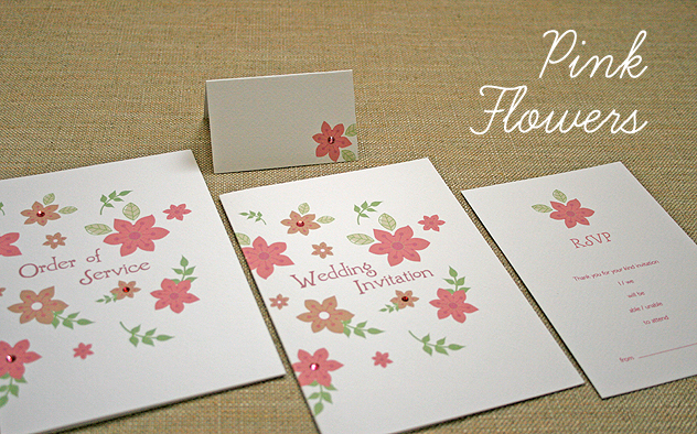 bright and colourful pink flower wedding stationery design spring summer wedding
