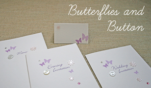 Butterflies and Button Wedding Invitations