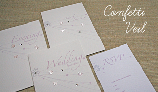 Confetti Veil Wedding Invitations
