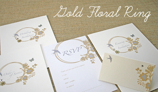 Gold Floral Ring Wedding Invitations