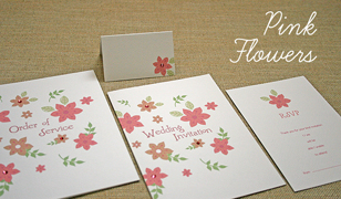 Pink Flowers Wedding Invitations