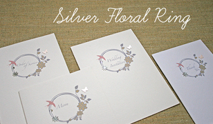 Silver Floral Ring Wedding Invitations