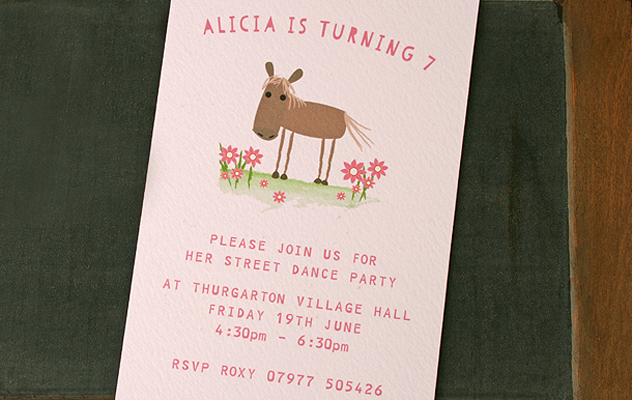 Alicia's Party invitations with horse design