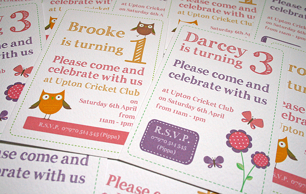 party invitations children flowers owl