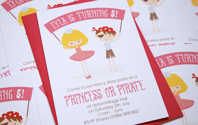 Lyla's Party Invitations Princess and Pirate