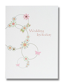 green floral wedding invitation fresh Spring design