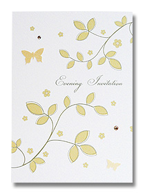gold leaf evening invitations