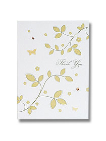 gold leaves wedding thank you card