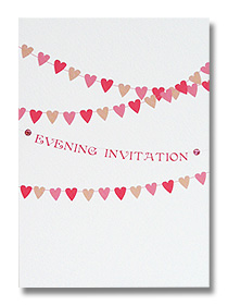 heart bunting wedding evening invitations