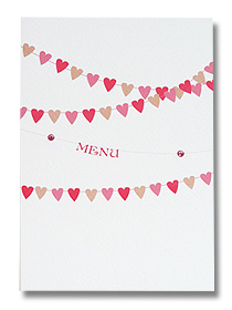 wedding menus summer buntign heart shaped