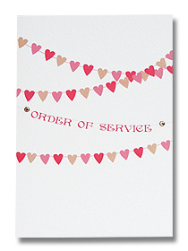 order of service heart shaped bunting wedding stationery