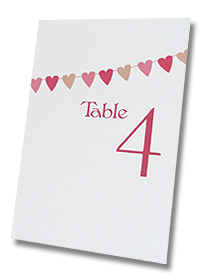 table number cards heart shaped bunting