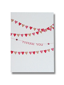 bunting thank you cards wedding hearts