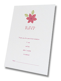 pink flowers rsvp card wedding stationery