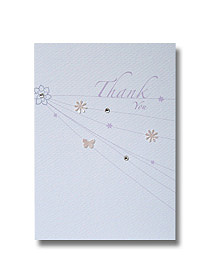 confetti veil thank you card delicate pastel design