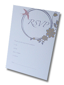 silver floral ring rsvp postcard vintage antique style wedding stationery