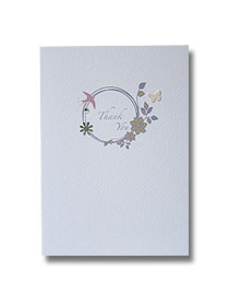 silver floral ring thank you card vintage antique style wedding stationery