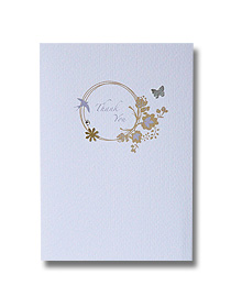 gold floral ring thank you card vintage antique style wedding stationery
