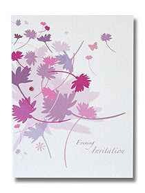 flowing flowers evening invitation colourful floral design