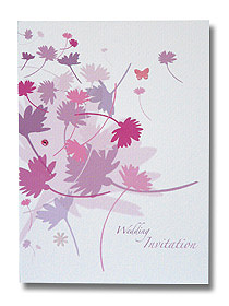 flowing flowers wedding invitation colourful floral design