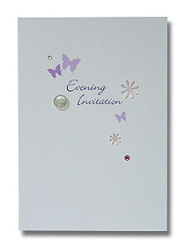 butterfly and button evening invitation purple butterflies