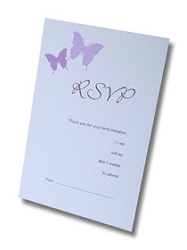 butterfly and button rsvp postcard purple butterflies