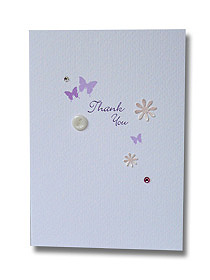 butterfly and button thank you card purple butterflies