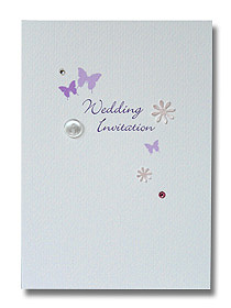 butterfly button wedding invitation purple butterflies